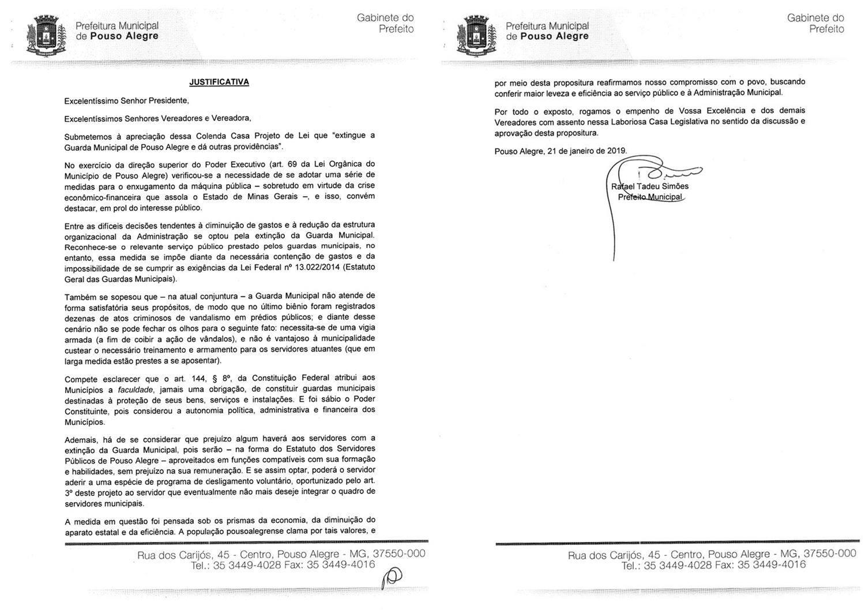 Prefeitura de Pouso Alegre envia à Câmara projeto que
